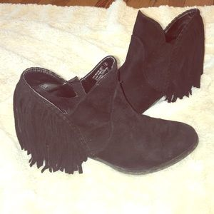 Black suede fringe ankle boot